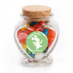 Green Happy Easter Bunny Glass Jar