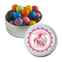 Pink and Blue Custom Photo Baby Shower Twist Tins