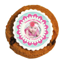 Pink and Blue Custom Photo Baby Shower Printed Cookies