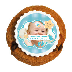 Blue Star Custom Photo Baby Shower Printed Cookies
