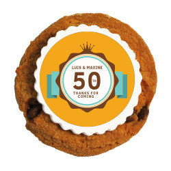 Orange Anniversary Printed Cookies