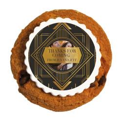 Dark and Golden Custom Photo Anniversary Printed Cookies