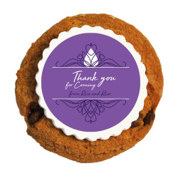 Purple Text  Anniversary Printed Cookies