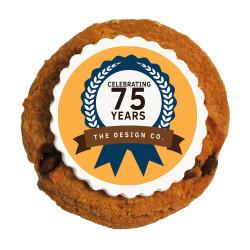 Orange Text Anniversary Printed Cookies