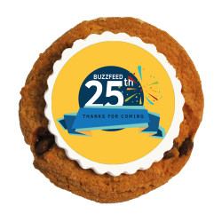 Yellow Text Anniversary Printed Cookies