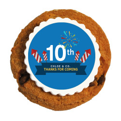 Blue Fireworks Text Anniversary Printed Cookies