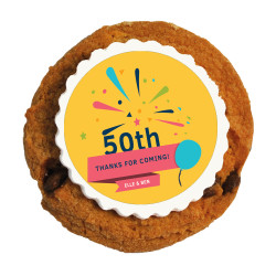 Yellow Colorful Fireworks Text Anniversary Printed Cookies