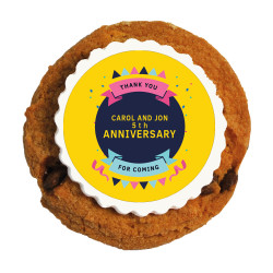 Yellow Party Text Anniversary Printed Cookies
