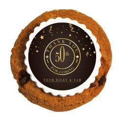 Golden Brown Anniversary Printed Cookies