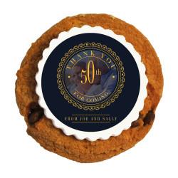 Golden Blue Custom Photo Anniversary Printed Cookies