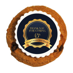 Blue and Gold Text  Anniversary Printed Cookies