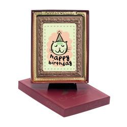 Cat Happy Birthday Chocolate Portrait