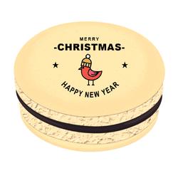 Bird Star Greetings Christmas Printed Macarons