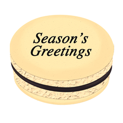 Black Season's Greetings Christmas Printed Macarons