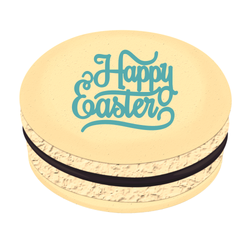 Blue Happy Easter Printed Macarons