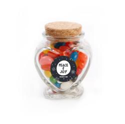 Peace & Joy Christmas Heart Glass Jar