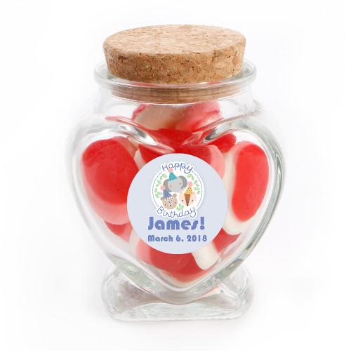 Three Animals Birthday Heart Glass Jar