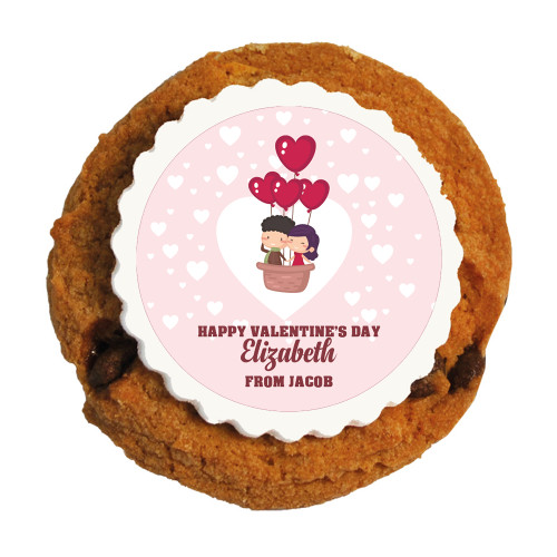Love Air Balloon Valentine Printed Cookies