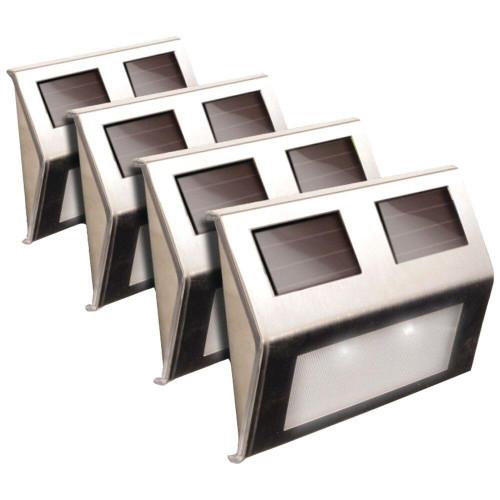 MAXSA INNOVATIONS Maxsa Innovations Solar Deck Lights 4 Pk stainless Steel
