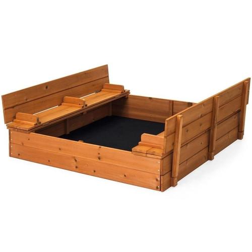 Sturdy Brown Cedar Kids Complete Seated Bench Sandbox