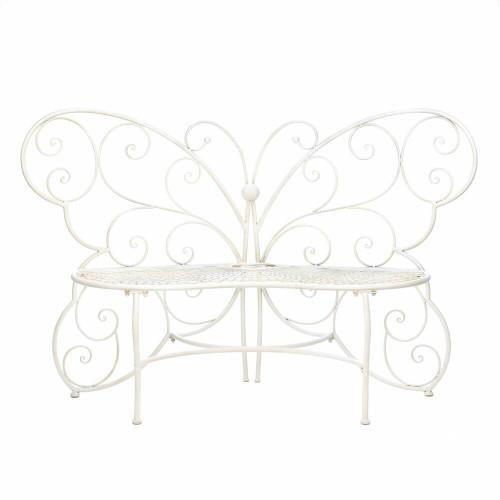 Summerfield Terrace White Butterfly Garden Bench