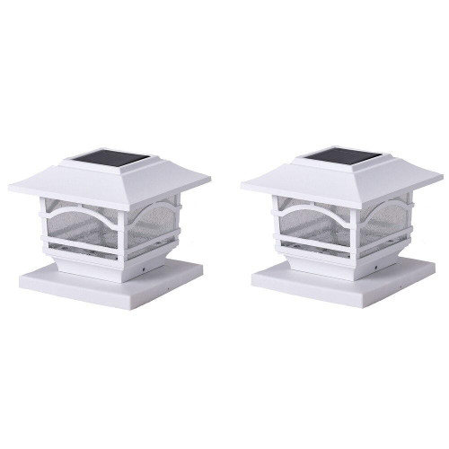 MAXSAR INNOVATIONS Maxsa Innovations Solar Post Cap And Deck Railing Lights 2 Pack white