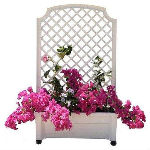 Mobile Planter Box with Trellis in White Plastic with Lockable Wheels