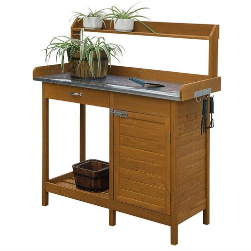 Outdoor Home Garden Potting Bench with Metal Table Top and Storage Cabinet