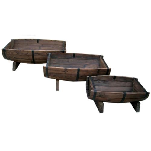 Set of 3 - Half Barrel Wood Planters