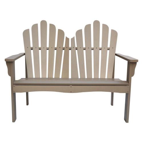 Outdoor Cedar Wood Loveseat Garden Bench in Taupe Grey Finish