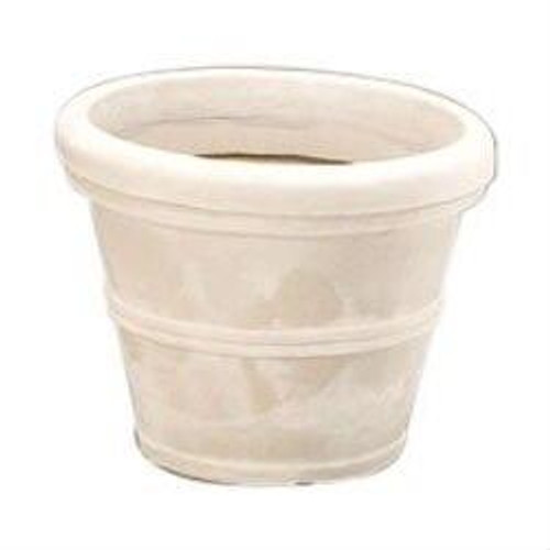 12-inch Diameter Round Planter in Weathered Stone Finish Poly Resin