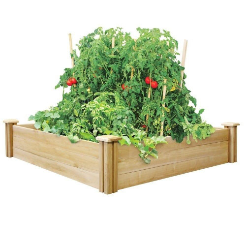 Cedar 4 ft x 4 ft x 10.5 in Raised Garden Bed - Made in USA