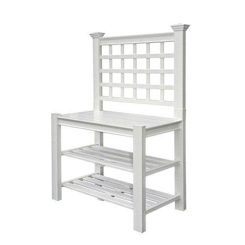 White Vinyl Outdoor Garden Classic Potting Bench with Shelves