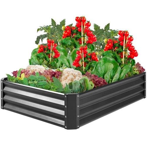Dark Gray 4 ft x 3 ft Steel Rust Resistant Open Bottom Raised Garden Planter Bed