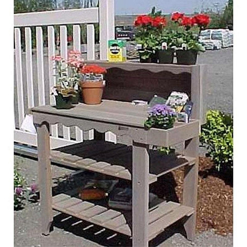 Outdoor Cedar Wood Potting Bench Bakers Rack Garden Storage Table in Grey