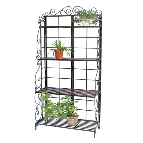 Black Metal Indoor Outdoor Planter Stand with 4 Shelves