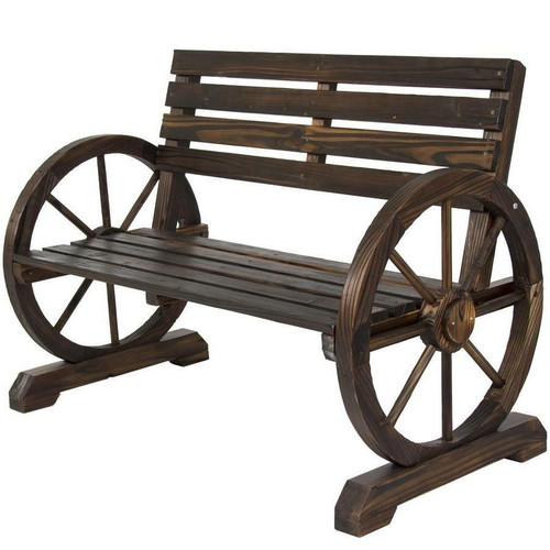 FastFurnishings 2 Person Farmhouse Wagon Wheel Wooden Bench