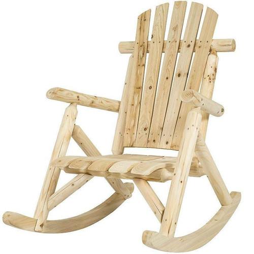 FastFurnishings Outdoor Wooden Log Rocking Chair - Adirondack Style