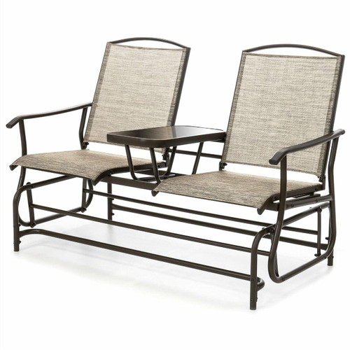 FastFurnishings Brown 2-Seater Outdoor Mesh Double Glider Tempered Glass Attached Center Table