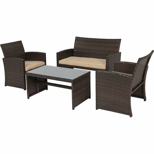 FastFurnishings Rectangle 59 x 31-inch Solid Wood Patio Dining Table with Center Umbrella Hole