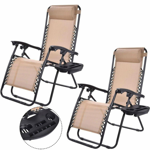 FastFurnishings Set of 2 Beige Folding Outdoor Zero Gravity Lounge Chair Recliner