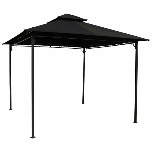 FastFurnishings 10-Ft x 10-Ft Outdoor Gazebo with Black Weather Resistant Fabric Canopy