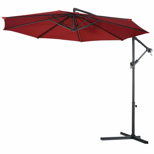 FastFurnishings Burgundy 10-Ft Outdoor Steel Pole Tilt Crank Offset Patio Umbrella