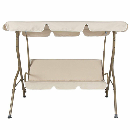 FastFurnishings Outdoor Porch Swing Patio Deck Glider with Canopy in Beige