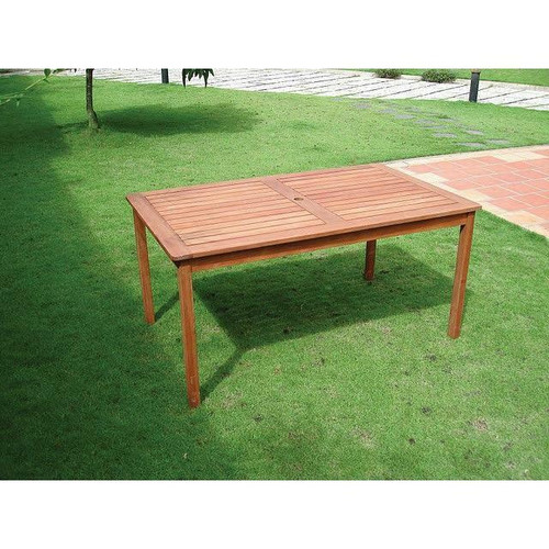 FastFurnishings Rectangle 59 x 31.5-inch Solid Wood Patio Dining Table with Center Umbrella Hole