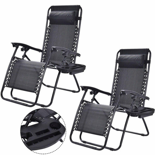 FastFurnishings Set of 2 Black Folding Outdoor Zero Gravity Lounge Chair Recliner