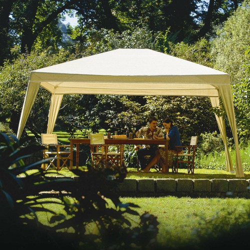 FastFurnishings 12Ft x 10Ft Folding Gazebo with Carry Bag in Camel