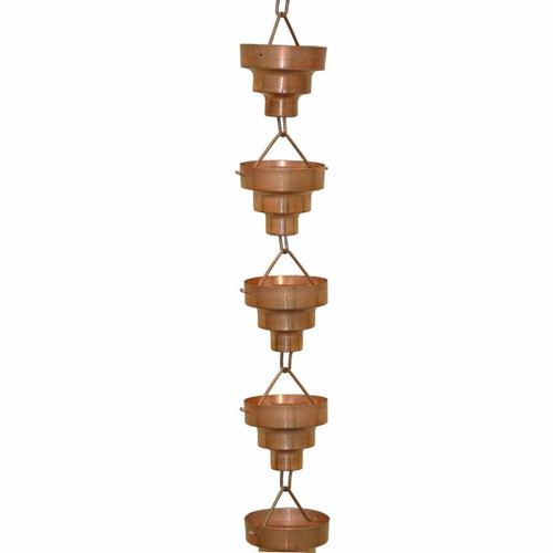 FastFurnishings Pure Copper 8.5-Ft Long Rain Chain with Wide Mouth Funnel Cups