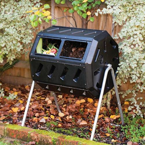 FastFurnishings 37-Gallon Tumbling Compost Bin Tumbler Composter - 5 Cu Ft