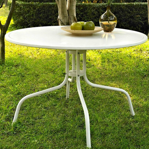 FastFurnishings Round Patio Dining Table in White Outdoor UV Resistant Metal